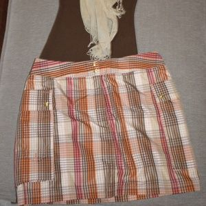 Liz Claiborne Golf Skort NWT Sz: 8 Orange/Tan